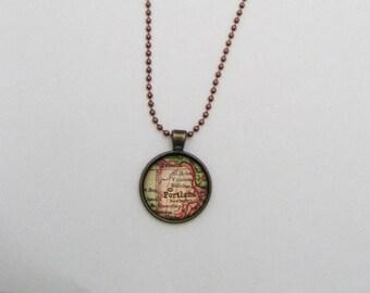Portland Necklace, Vintage Map Necklace, Portland Map Necklace, Portland Jewelry, Map Jewelry Gifts Under 20