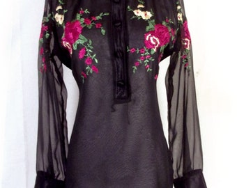 vtg 70s Scene II by Jonathan Logan Sheer Black Top Blouse Floral Embroidered 40
