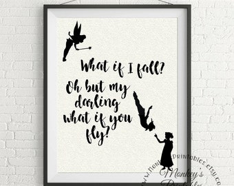What If I Fall, Peter Pan Wall art, Peter Pan, Printable Wall Art, Motivational quote, inspirational quotes, wall prints, art prints