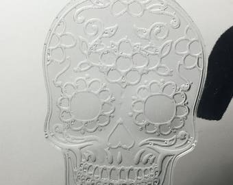 Clear sugar skull earrings