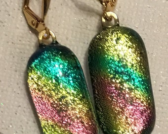 Dichroic Glass  Earrings, Gold Plated leverback earrings