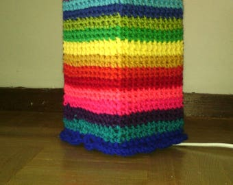 Multicolor striped crochet rectangular lamp