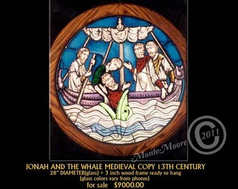 Jonah & the whale Stained/Painted Glass Window