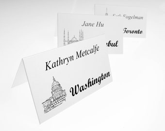 Cities of the World Seating Cards - Travel Theme Wedding