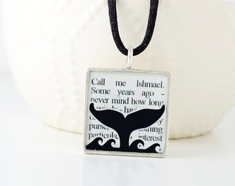 Moby Dick Whale Necklace – Nautical Jewelry – Book Jewelry - Literary Quotes – Book Quotes - Nautical Necklace – Summer Accessories