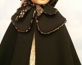 American Girl or 18 Inch Doll Historical Black Wool Double Cape and Bonnet
