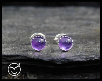 February birthstone earrings - Natural purple amethyst gemstone cabochon, 5mm, in a sterling silver bezel, Ready to ship. 258