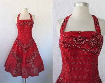 1950s Halter Dress / Vintage 50s Alix of Miami Red Black White Country Western Bandana Novelty Print Cotton Full Skirt Dress Cowgirl - XS