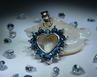 Heart. Handmade Aquamarine Pendant. PREMIUM FREE SHIPPING