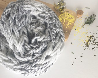 Gray and White Scarf, Chunky Infinity Scarf