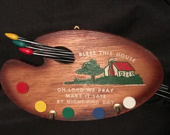 "Vintage Potholder Hook ""Bless the House"" Wooden Hook for Potholders Artist Easel Hooks  Vintage Souvenirs SALE PRICE was 9.99 now 7.99"
