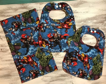 Avengers Themed Bibs and Burp Cloth