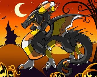 Candy Corn Dragon Print