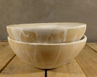 Ceramic bowl, beige/white, wheelthrown, rustic