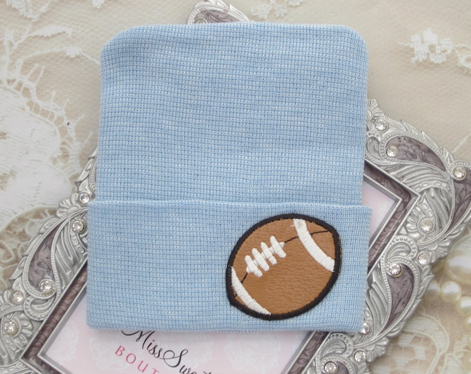 BOYS Football Newborn Hospital Hat, infant beenie, hospital take home hat, boys sports hat, baby beenie, ready to ship by Lil Miss Sweet Pea