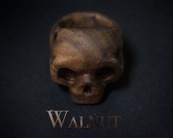 Handmade Wood Ring Skull