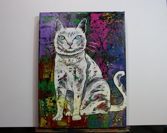 Abstract White Cat Painting, Multi color abstract Cat Wall Art, Pink, Purple Blue Cat Original Painting