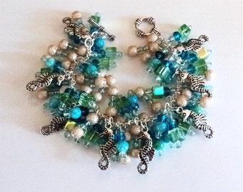 Sea Horse Charm Bracelet, Cha Cha Bracelet, Turquoise and Green, Beach Bracelet, Artisian Beach Themed Bracelet, Chunky Jewelry - Coral Reef