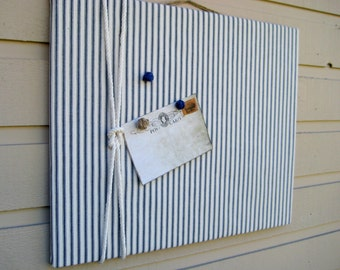 Linen Ticking Pin Board, Photo Bulletin Board with cotton rope detailing made with classic nautical blue and tan ticking linen cabin decor