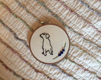Dog Embroidered Hoop Art