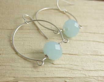 Earrings with a Half Circle and Chalcedony Blue Crystal Beads CHE-207