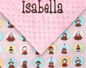 Baby Girl Blanket , Personalized Sock Monkey Baby Blanket ,  Sock Monkey and Minky Blanket