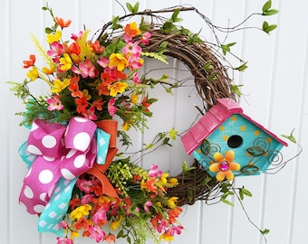 Birdhouse Wreath, Summer Wreath, Grapevine Wreath, Front door Wreath, Back door Wreath, Aqua and pink Wreath, Everyday Wreath, Floral Wreath