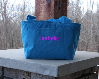 Personalized Blue Lunch Bag Monogrammed Insulated Lunch Tote