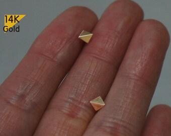 14K Gold Tiny Folded Square stud earrings, geometric studs, 14k solid Gold - TG4020