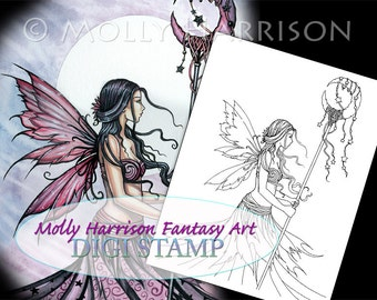 Purple Dream Fairy - Digital Stamp - Printable - Moon and Stars - Molly Harrison Fantasy Art - Digi Stamp Coloring Page