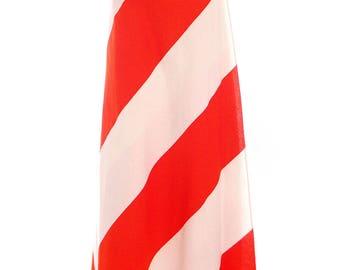 Vintage Vuokko 1970s METSÄ Awning Stripe Maxi Wrap Skirt Orange & White M