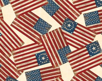 By The HALF YARD - Colors of Freedom by Jennifer Pugh for Wilmington Prints, #82465-134 Ivory Flags All over, Tossed United States Flag