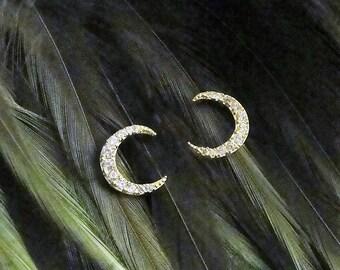 Moon Studs, Moon Earrings, Moon Jewelry, Crescent Moon Earrings, Crescent Moon Jewelry, Crystal Moon, Moon, Gothic Jewelry, Crescent Moon