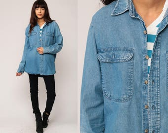 Blue Jean Shirt Denim Shirt 80s Button Up Grunge Long Sleeve POCKET Boyfriend Hipster Vintage 1980s Cotton Large