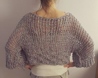 Oversized loose knitted sweater. Hand knitted loose knitterd cotton or woolen sweater / top. Available in many colors and color combinations
