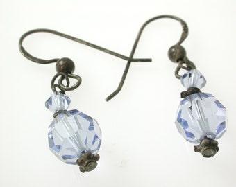 Silver  Crystal Drop Earrings  Swarovski
