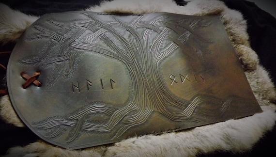 Viking Yggdrasil Tree of Life Design Leather Journal / Moleskin Cover Portfolio Wraparound Style - Large Knotwork Tree