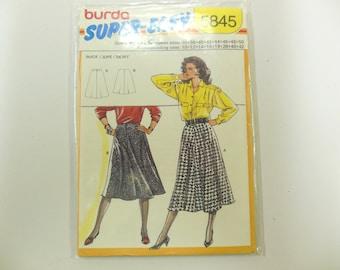 Burda 5845 Skirt Pattern, Uncut, Sewing, Two Views, Basic Skirt