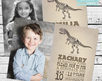 Vintage Dinosaur Fossil Party Pack - Photo Invitation and much more!