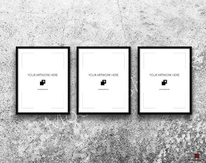 11x14 FRAME MOCKUP BLACK Set of 3 / Poster Mockup, old white stone wall Background, Framed Art, Instant Download / Frame Mockup