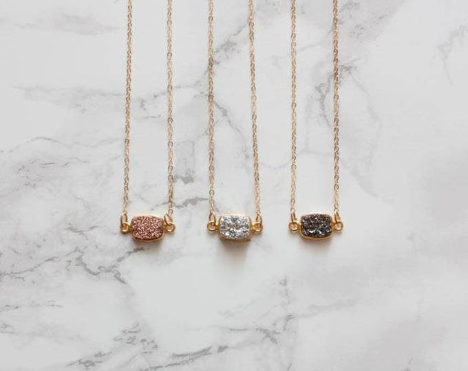 Dainty Druzy Rectangle Necklace  (Choose a Gemstone)