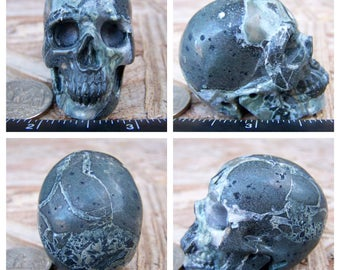 "1.96"" 3.0oz 85.9g Camouflage Jasper Skull Realistic Crystal Healing Magical Magick Metaphysical Mystic Reiki Wicca Green Large 2 inch SK1802"