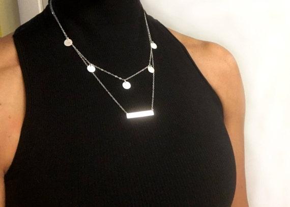Silver Coin Necklace, Coin Necklace Gold,  Circle Necklace, Gold Coin Necklace, Dainty Necklace, Layering Necklace, Bohemian Necklace