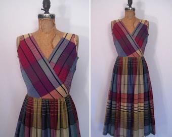 reserved • 1950s madras plaid dress • 50s plaid sundress • vintage sunday girl dress
