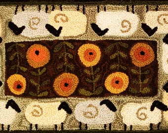 Sheep Garden Tour Punch Needle Pattern - Punchneedle Embroidery Pattern #TTB 681