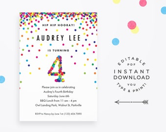 4th birthday party invitation