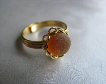 Amber Sea Glass Gold Plated Ring - Beach Glass Ring - Sea Glass Ring - Beach Glass Jewelry - Ocean Jewelry Gifts of the Sea - Pure Sea Glass
