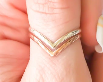 Rose Gold Chevron Ring, Sterling Silver Rose Gold Filled Ring, V Ring, Thumb Ring, Silver Chevron Ring, 14K Rose Gold Filled Ring