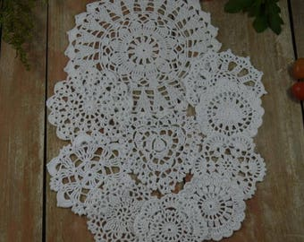 Handmade Crochet Doilies Wedding Valentines White doily Round Heart Coaster - Set 10