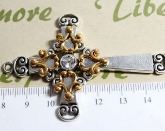 1 pc per pack 70x46m 2 Tone Decorated Cross Pendant Antique Gold Finish and Antique Silver Lead Free Pewter